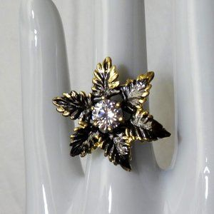 CZ Sterling Silver Ring, Black Rhodium/Gold plated